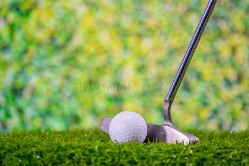 Golf ball and golf club on grass green course royalty free stock photos