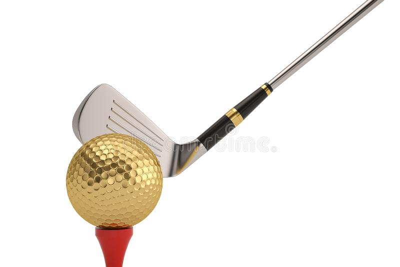 Golf ball and golf club isolatedon white background. 3D illustration. stock illustration