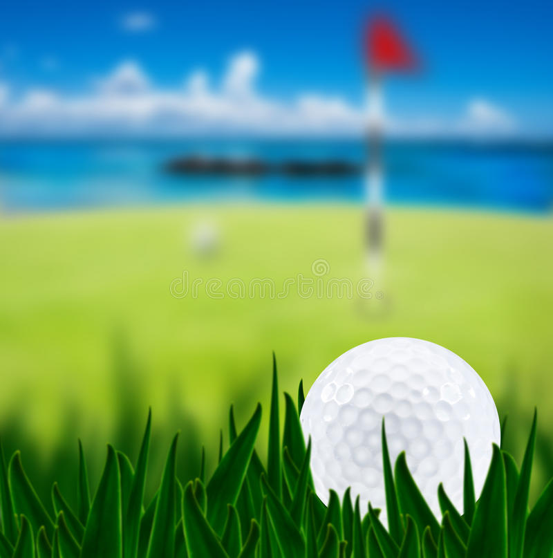 Golf Ball On A Golf Course Stock Images