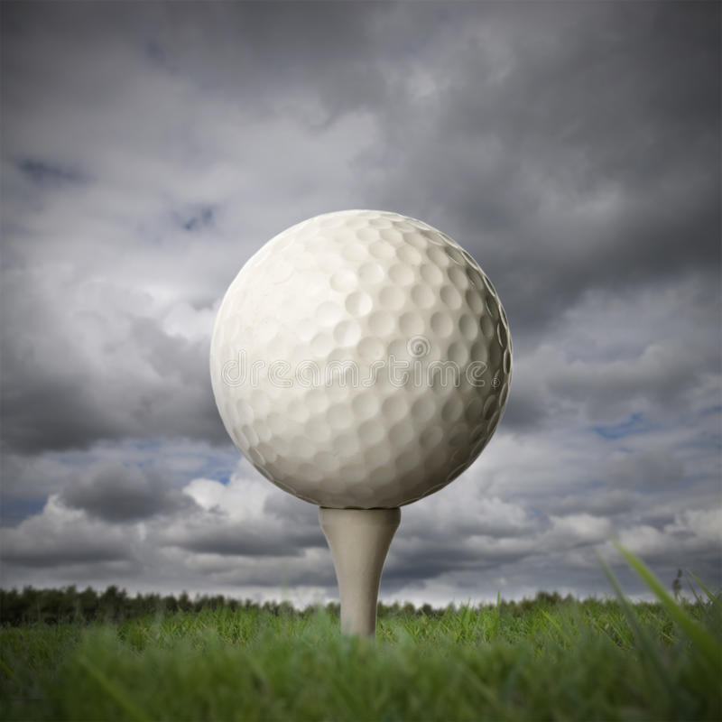 Download Golf ball on golf tee stock image. Image of evening, course - 23790235