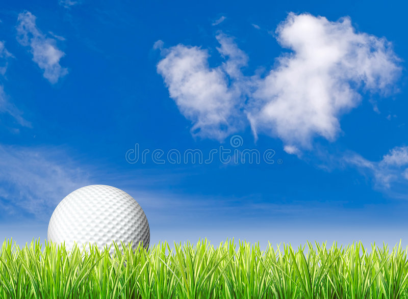 Download Golf Ball, Grass And Blue Sky Stock Image - Image: 4909093