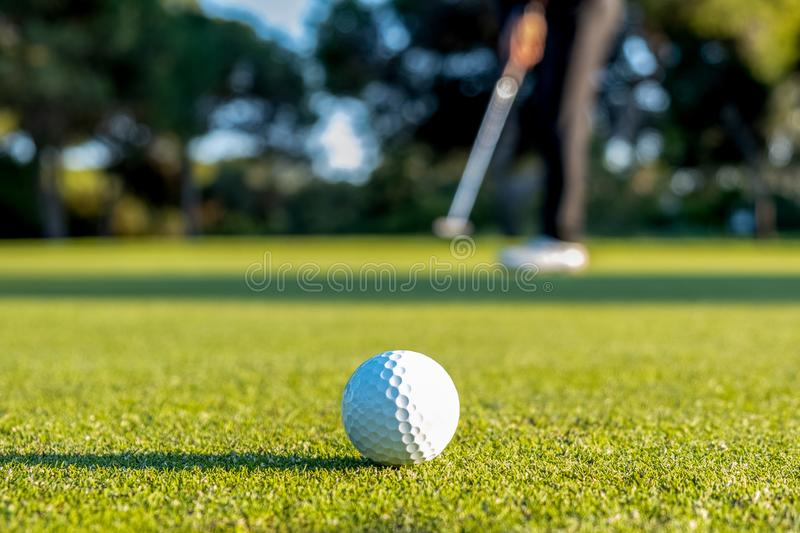 Golf ball on the grass and out-of-focus golfer in the background stock images