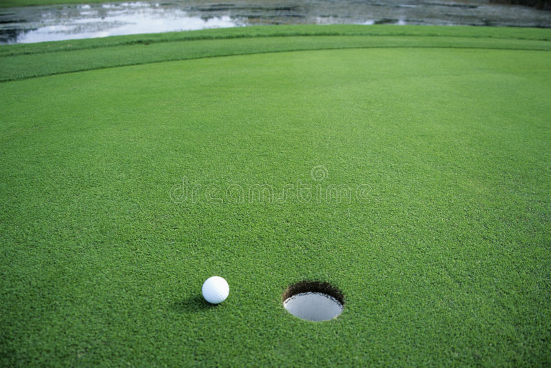 Download Golf Ball on Green stock image. Image of hole, aspiration - 3884275