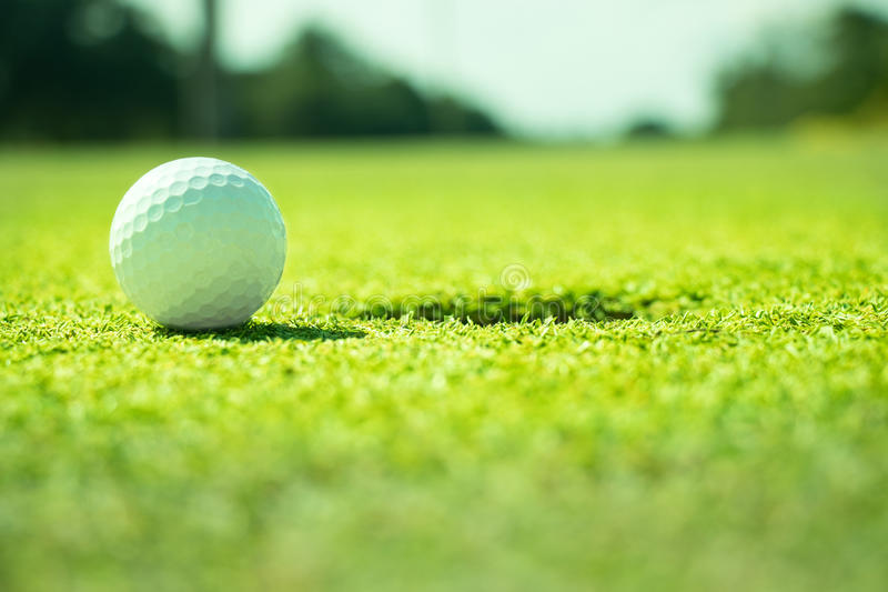 Golf. Ball on the green royalty free stock photography