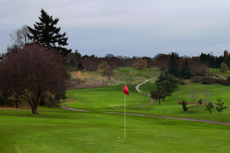 Golf Ball on Green with Distant Fairway and Curved Cart Path to Tee Box. Golf ball on green next to a red flag with distant fairway and cart path leading to the royalty free stock photography