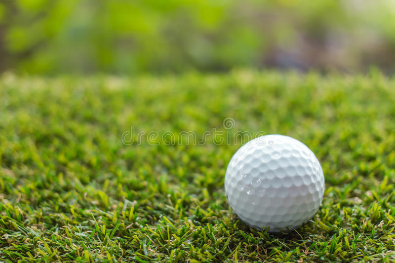 Golf ball on green grass background. Individual sports royalty free stock photos