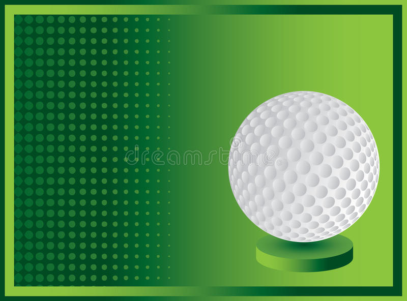 Golf ball on green halftone banner royalty free illustration