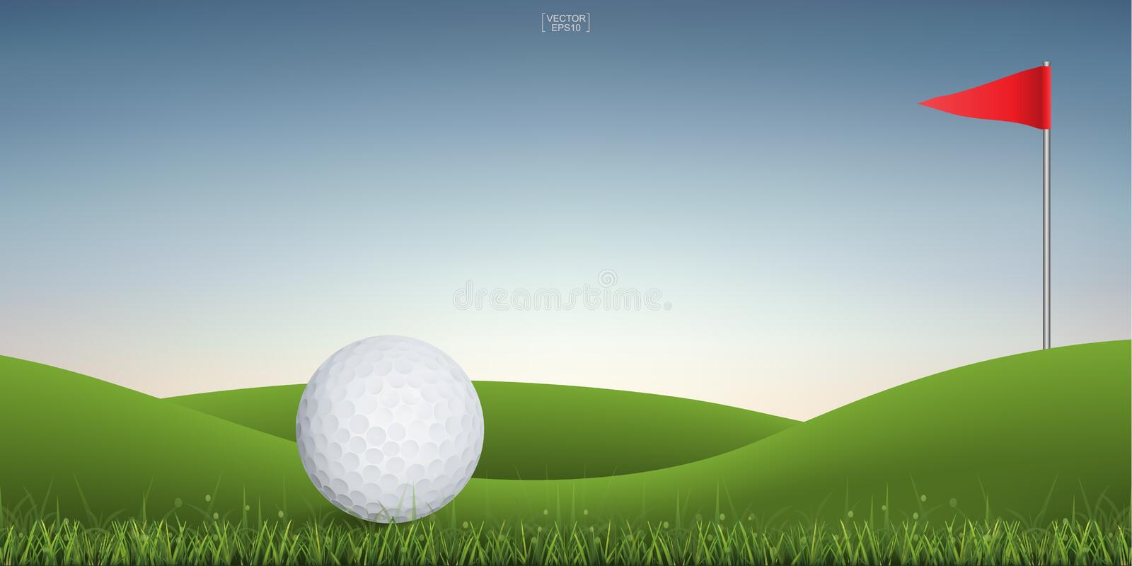 Golf ball on green hill of golf court with sunset sky background. Vector illustration stock illustration