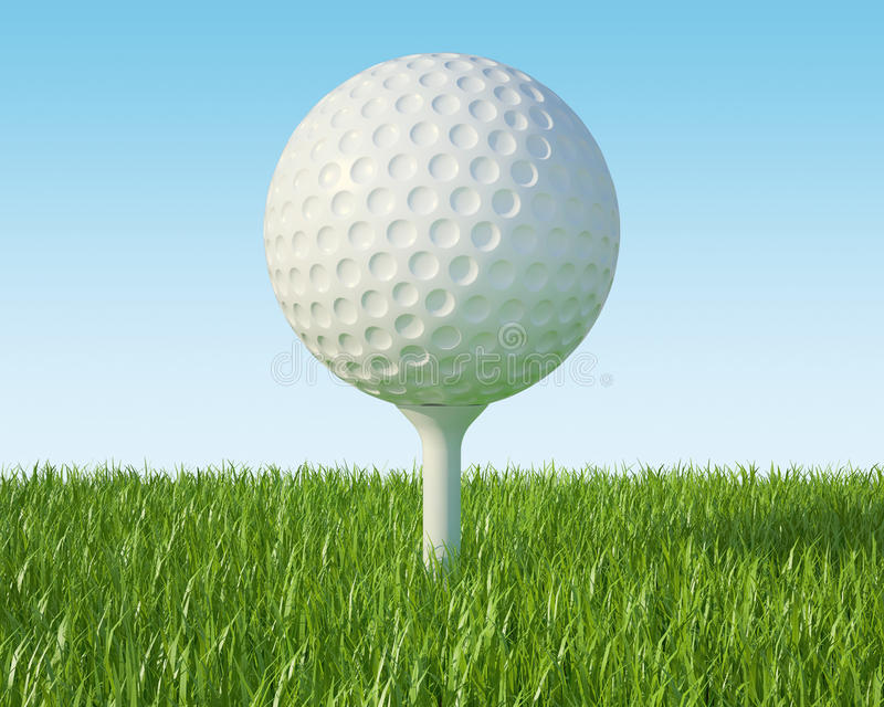 Golf ball on the green lawn stock illustration