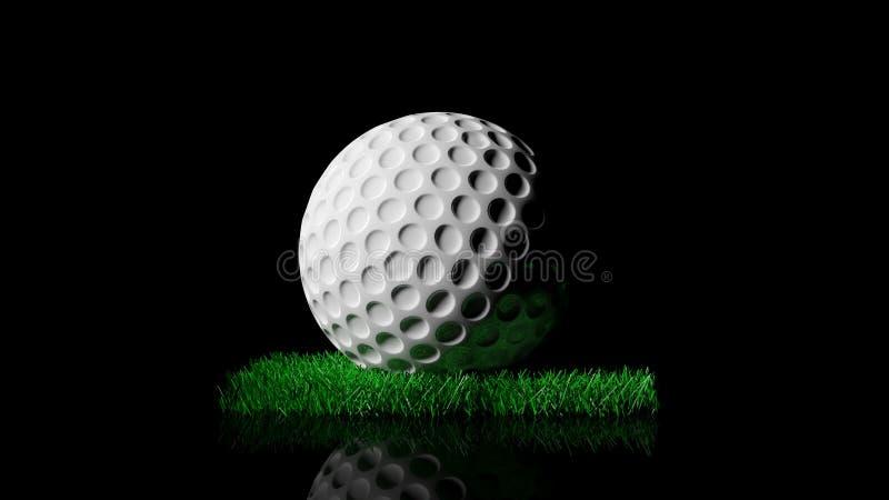 Golf ball on green turf patch stock illustration