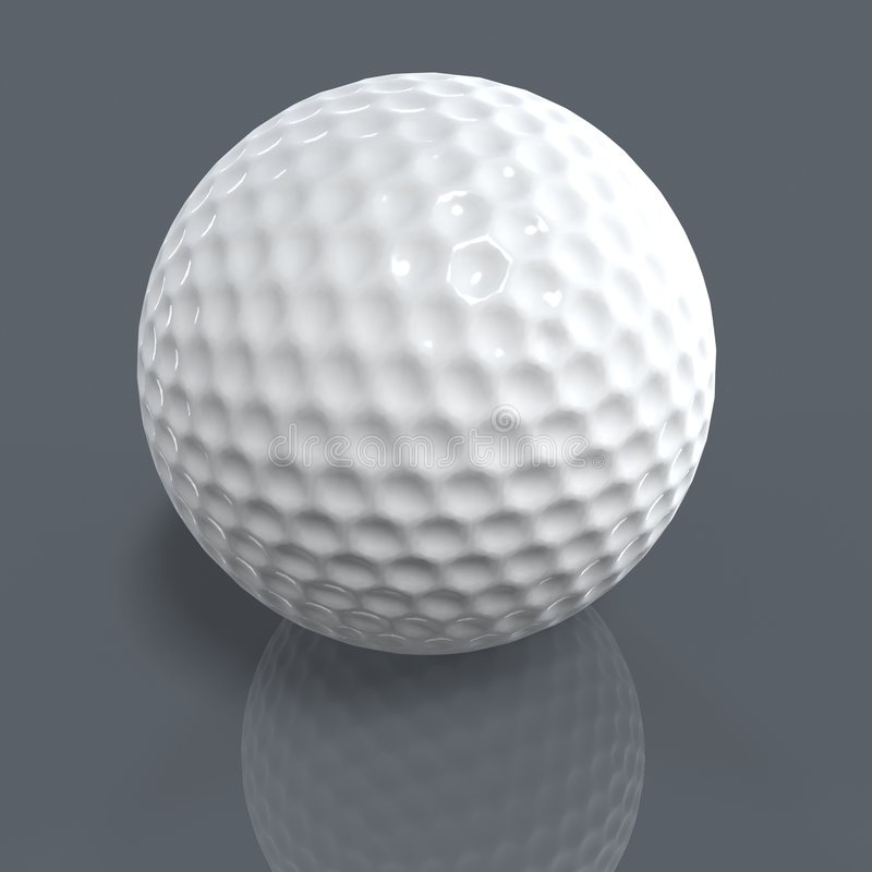 Golf ball on ground. Golf ball with shadow and reflection isolated on ground royalty free illustration