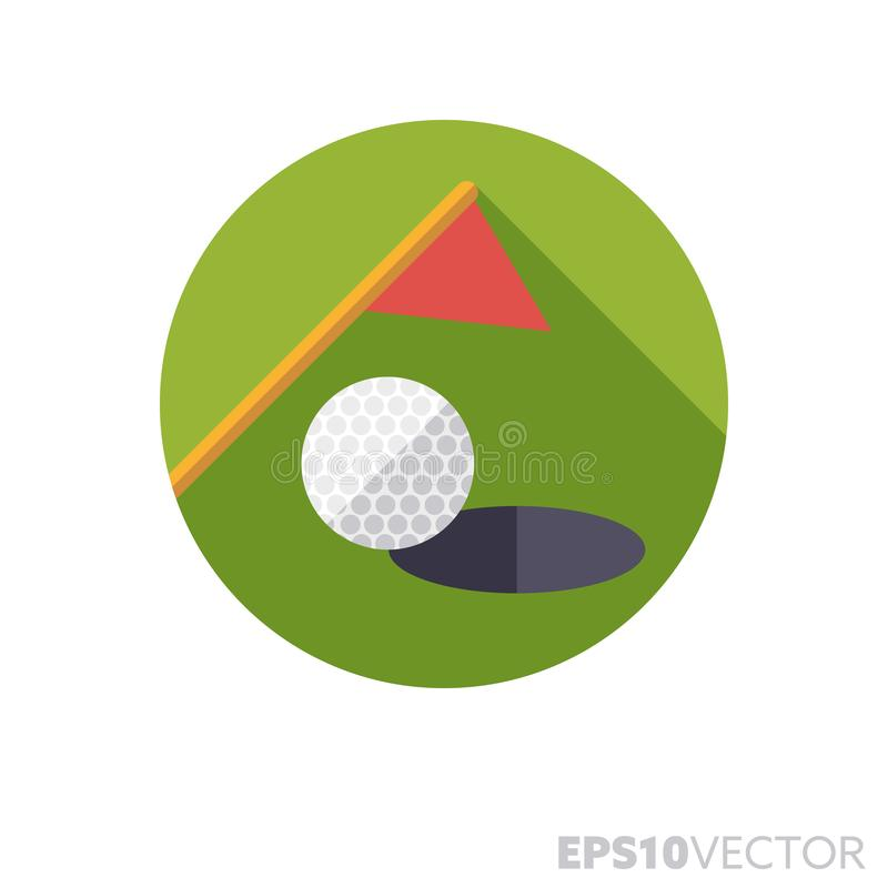 Golf ball, hole and flag on lawn flat design long shadow color vector icon. Golf ball, hole and flag on lawn flat design round icon. Color symbol of sports and stock illustration