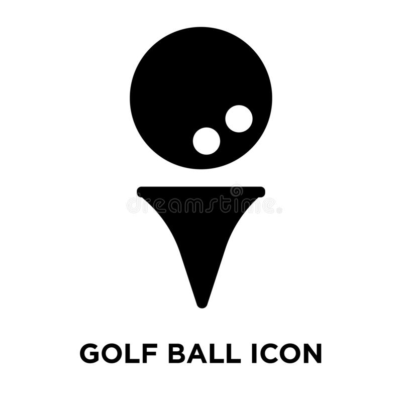 Golf ball icon vector isolated on white background, logo concept. Of Golf ball sign on transparent background, filled black symbol royalty free illustration