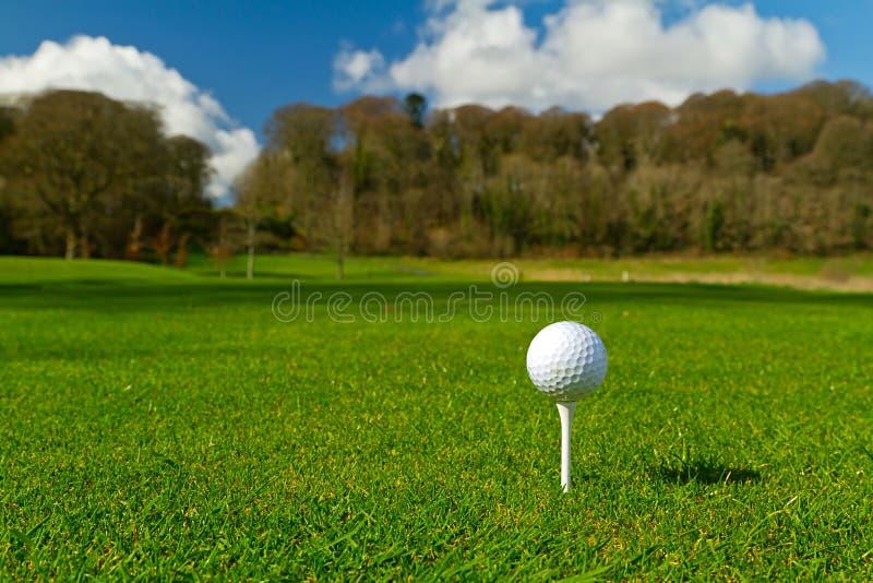 Golf ball on an idyllic course royalty free stock photos