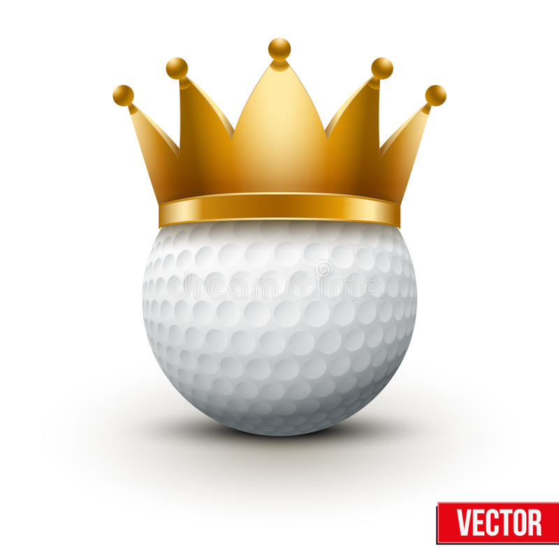 Golf ball with king crown. Isolated on white. Traditional form and color. Realistic Vector illustration royalty free illustration