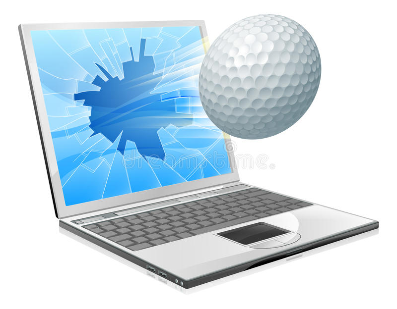 Golf ball laptop screen concept. Illustration of a golf ball flying out of a broken laptop computer screen royalty free illustration