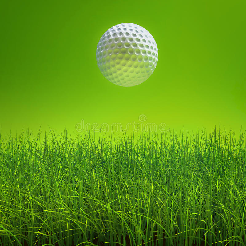 Golf ball on lawn over green stock illustration