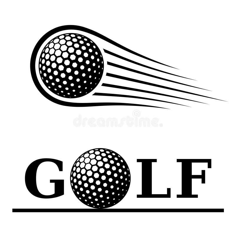 Golf ball motion line text symbol vector illustration