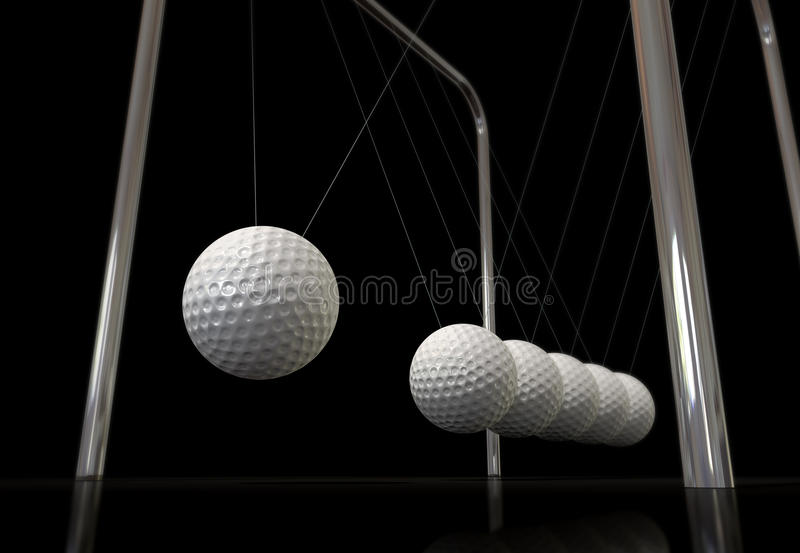 Golf Ball On A Newtons Cradle Royalty Free Stock Image