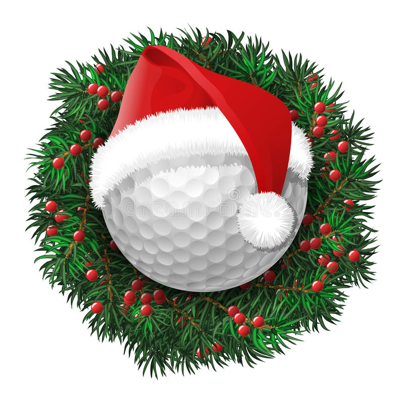 Golf ball over evergreen holiday wreath. Decorated with red berries. Funny face in eyeglasses. Vector illustration vector illustration