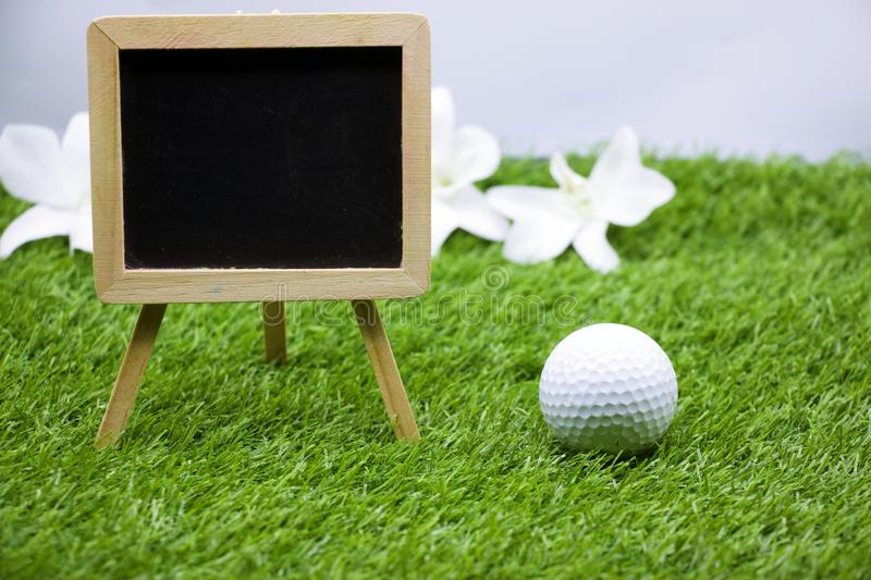 Diary of golfer with golf ball is on green grass stock photography