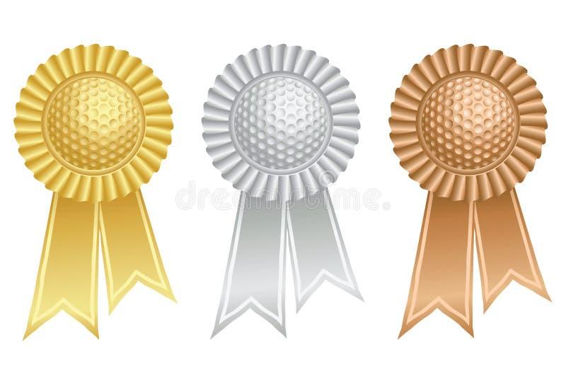 Golf ball prize rosettes vector illustration