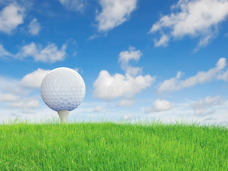 Golf ball put on green grass. With nice sky royalty free stock photo
