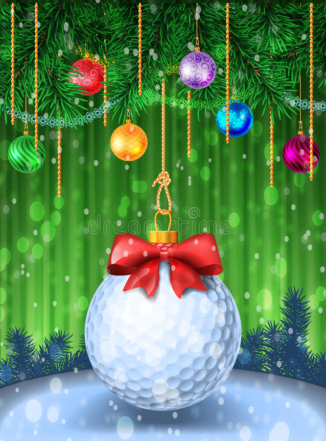 Golf ball with red bow vector illustration
