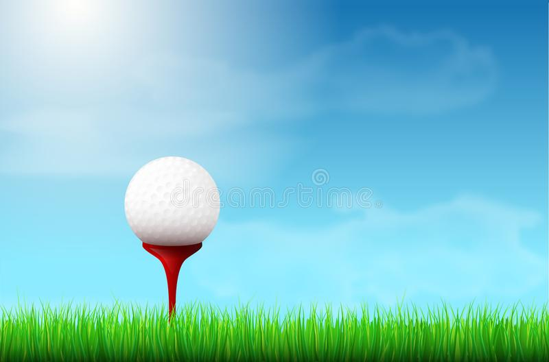 Golf ball on red tee, grass and blue sky vector illustration