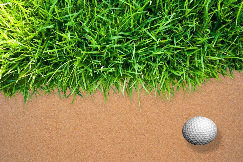Golf ball on sand. Green grass, golf ball on sand background stock photos