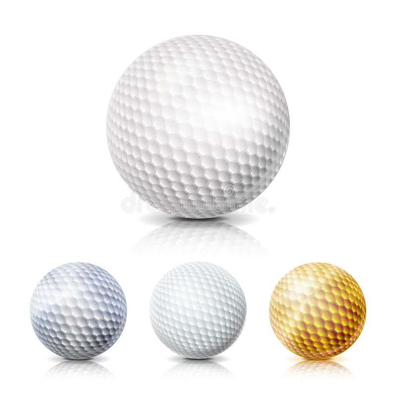 Golf Ball Set. 3D Realistic Vector Illustration. White, Gold, Gray. Isolated On White Background. Realistic Golf Ball Isolated On White Background. Traditional stock illustration