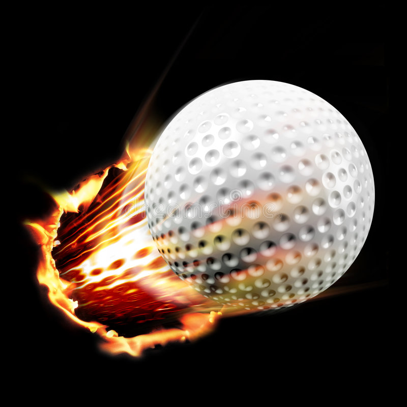 Golf ball shot. Golf through fire and flames royalty free stock photos
