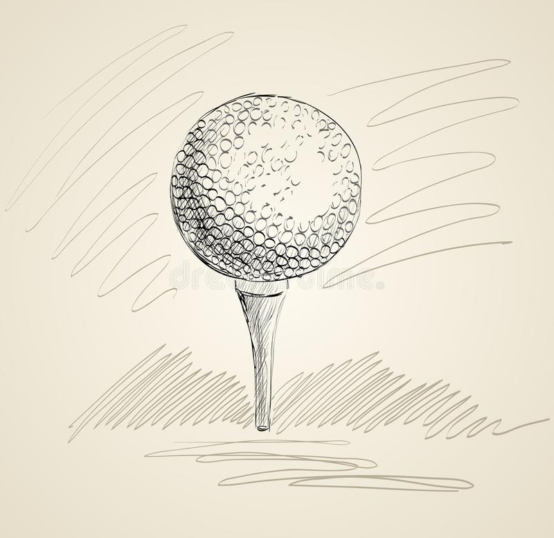 Golf ball. Sketch of a golf ball. Hand drawn illustration royalty free illustration