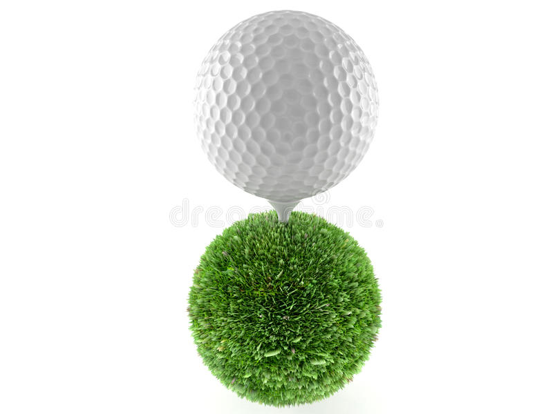 Golf ball with sphere of grass vector illustration