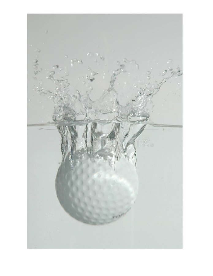 Golf ball splash royalty free stock image