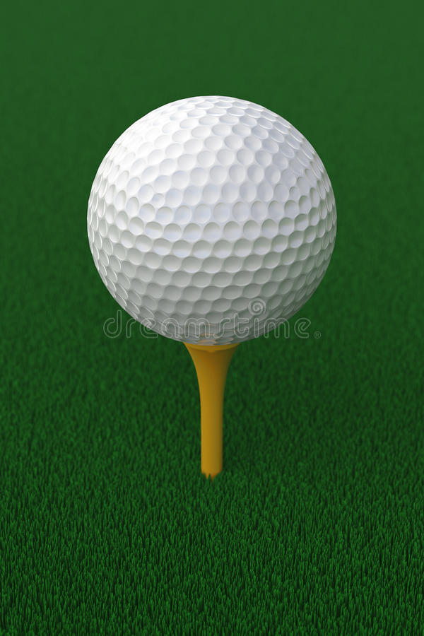 Golf ball on stand stock photo