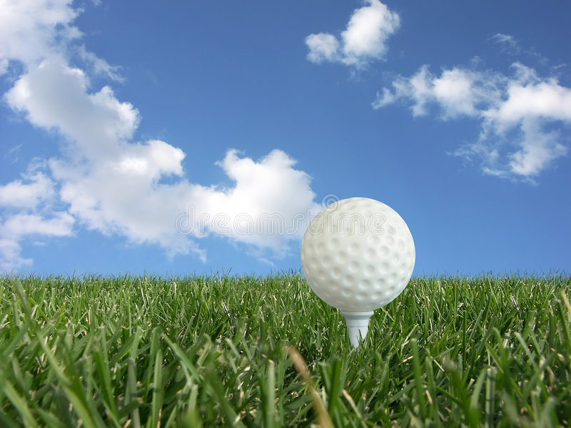 Download Golf ball on a tee stock image. Image of perspective, grass - 1383909