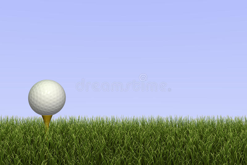 Golf Ball on Tee. Golf ball on a tee against a grass and sky background royalty free illustration