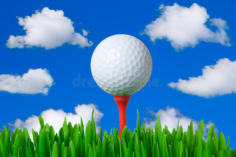 Download Golf ball on tee stock image. Image of course, leisure - 8375913