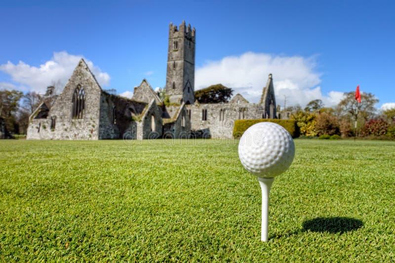 Golf ball on the tee in Adare, Ireland.