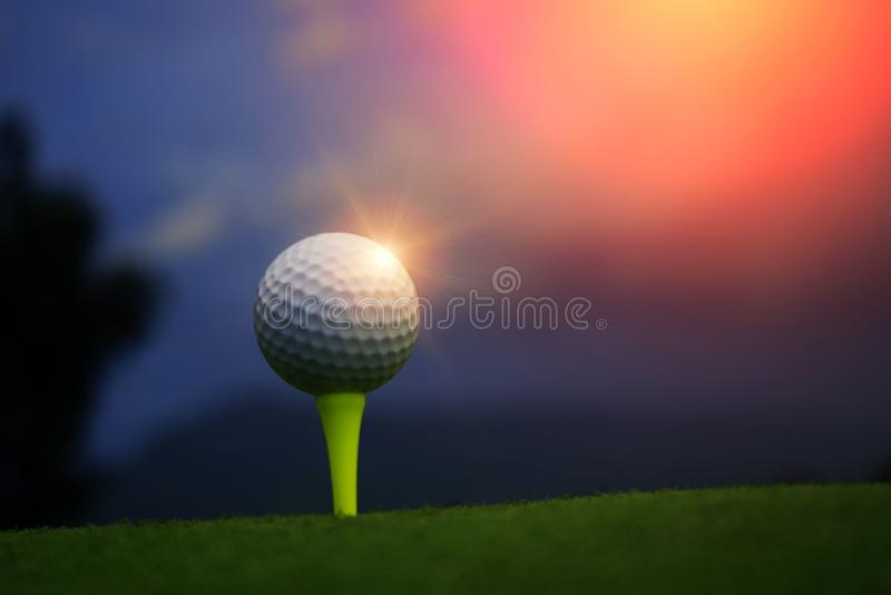 Golf ball on tee in beautiful golf course at sunset background. stock photography