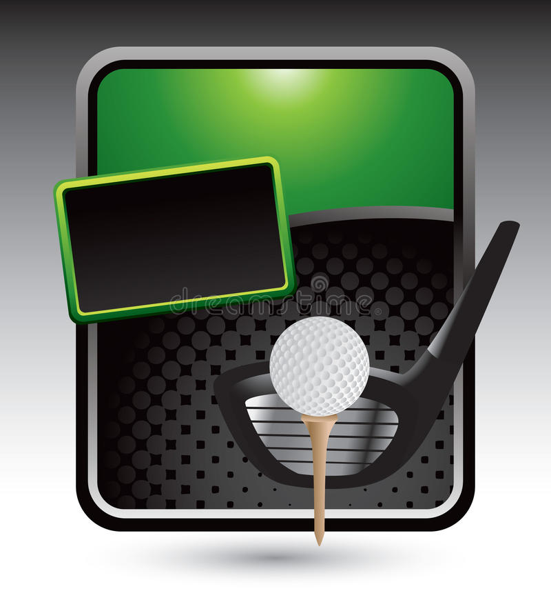 Golf ball on tee with club on green stylized ad vector illustration