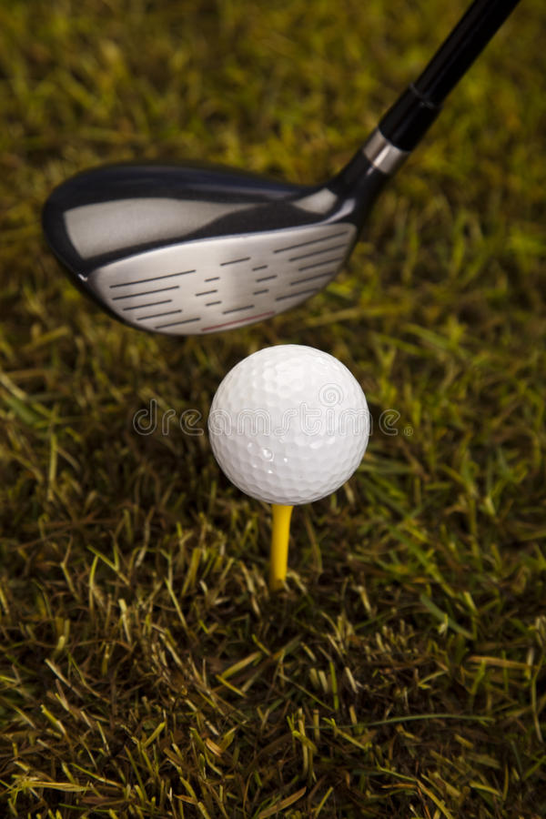 Download Golf ball on tee in driver stock photo. Image of outside - 26850116