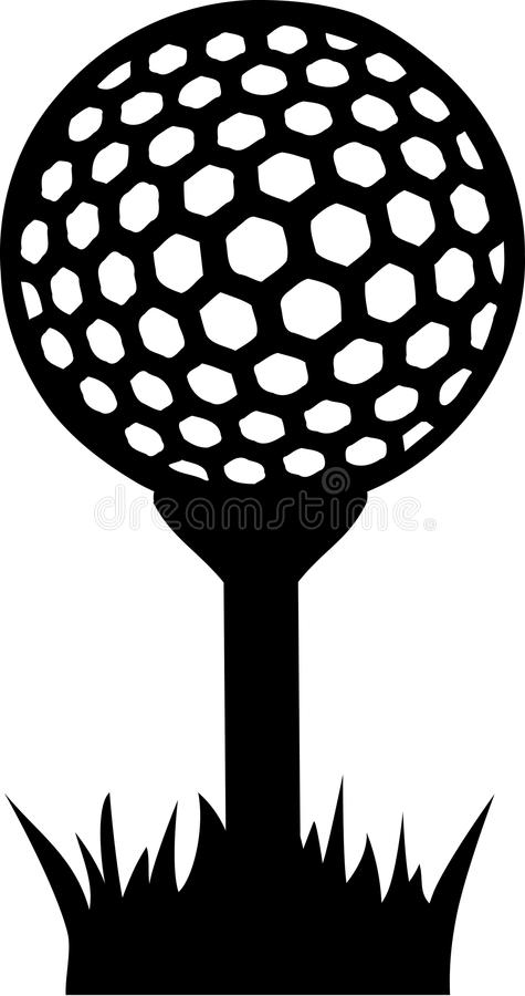 Golf Ball on Tee in Grass. Vector stock illustration