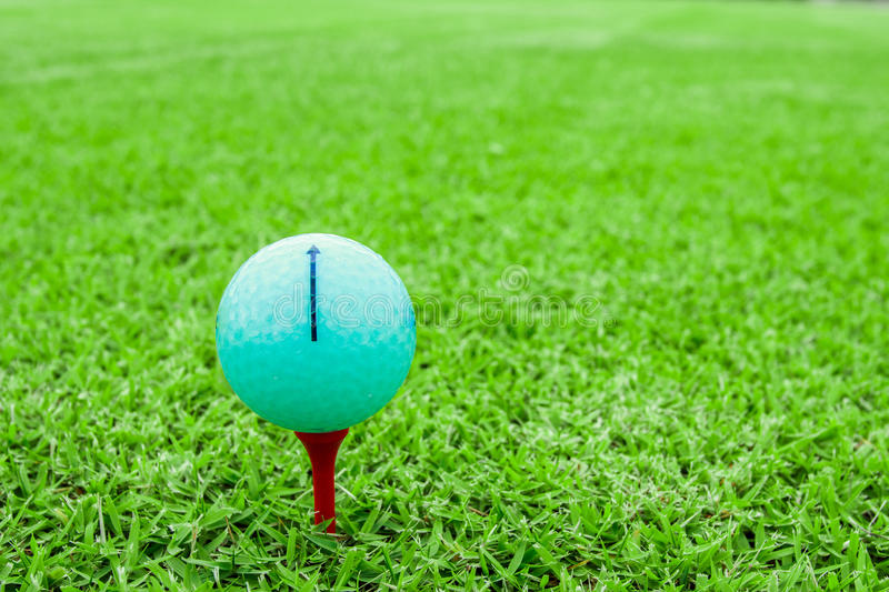 Golf ball on a tee in green grass course stock photo