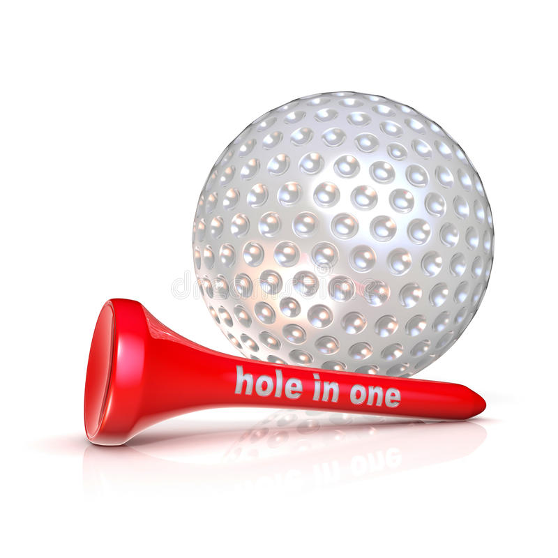Golf ball and tee. Hole in one sign. stock illustration