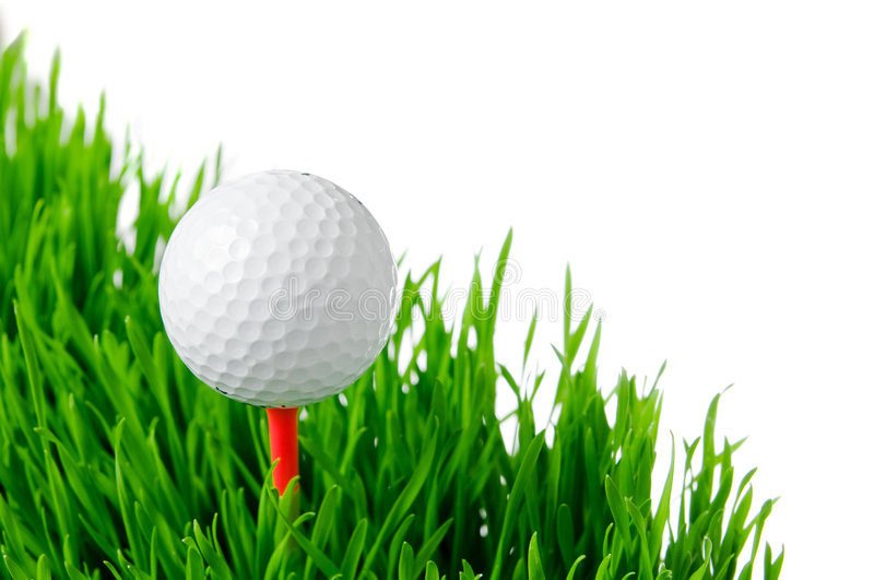 Golf ball on tee isolated royalty free stock image