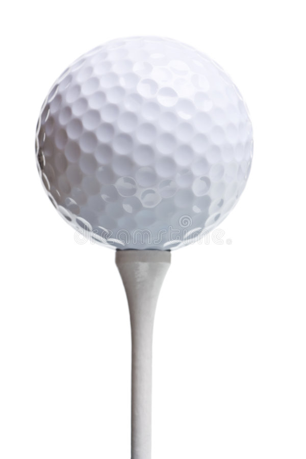 Golf ball on tee isolated on white royalty free stock photo