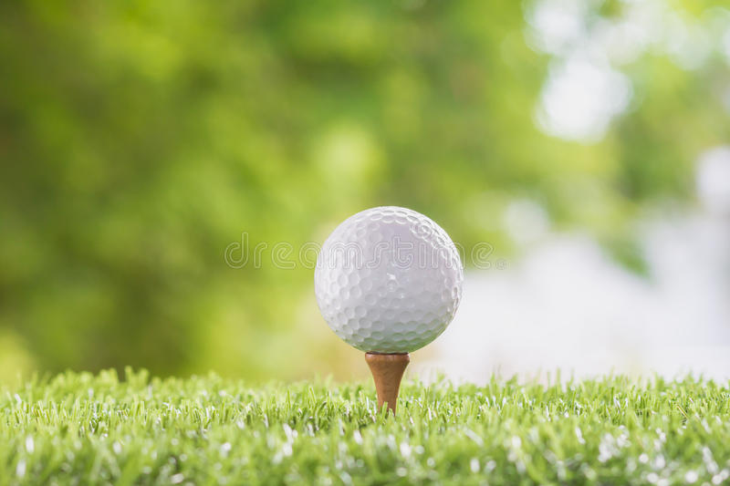 Golf ball on tee pegs royalty free stock image