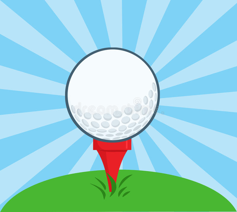Golf Ball With Tee Ready stock illustration